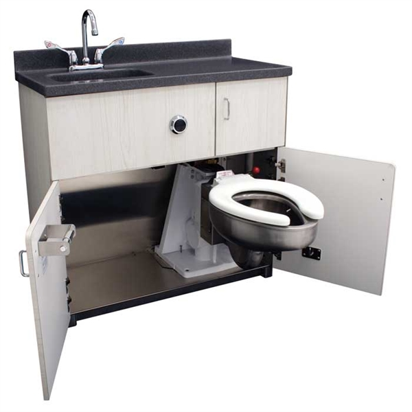 4010 Free-Standing Cabinet, Pivoting Toilet, Rectangular Lavatory Back Waste Outlet