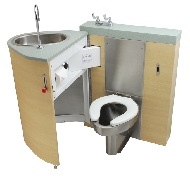 Back Waste Outlet, Fixed Toilet with Pivoting Oval Lavatory Cabinet
