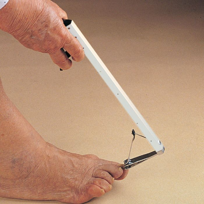 Long-Handle Toenail Clippers in use