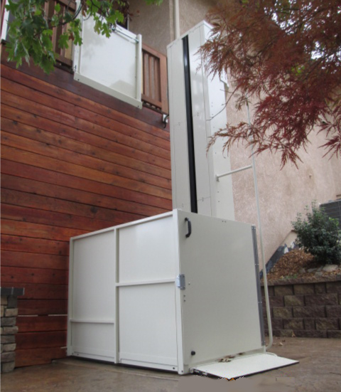 Mac's Extended Vertical Lift used to access a high porch