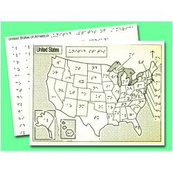 Braille Tactile Map of USA with List of State Capials