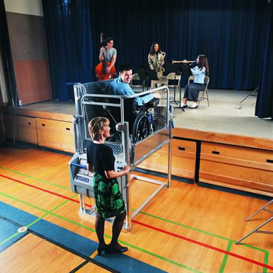 Portable Wheelchair Lift used to access a theater stage