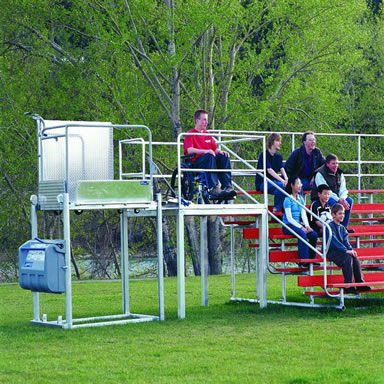 Portable Wheelchair Lift used to access bleachers