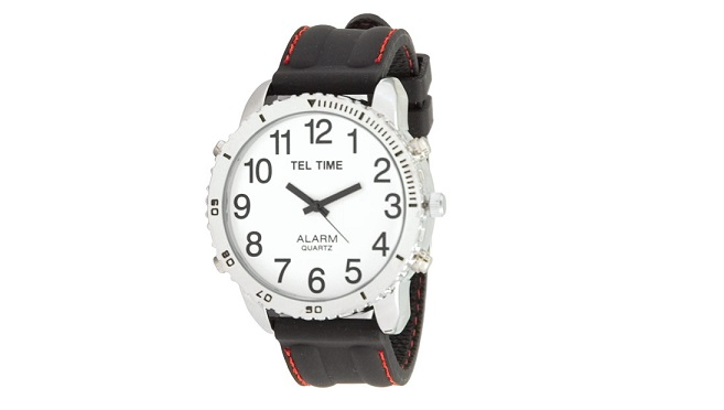 Large Dial Chrome Talking Vibrating Watch with Black Rubber Band