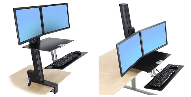 WorkFit-S, Dual Monitor w/Worksurface+