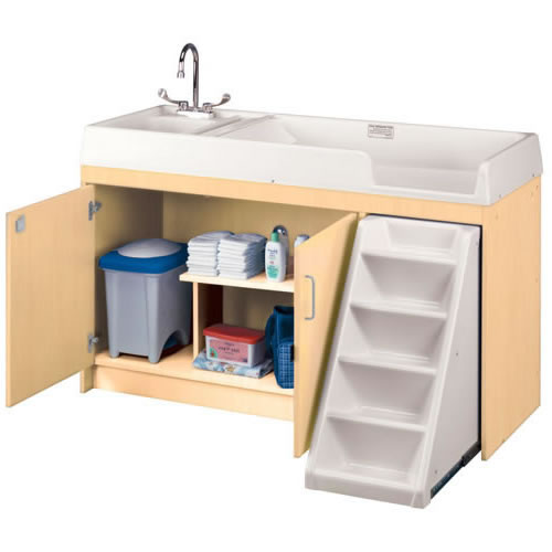 Walk Up Changing Table with Left Hand Sink and Right Stairs