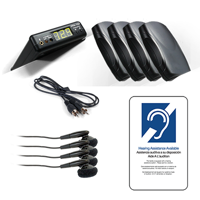 PPA Value Pack System 4 4-Receiver Value Pack Hearing System with Earbuds