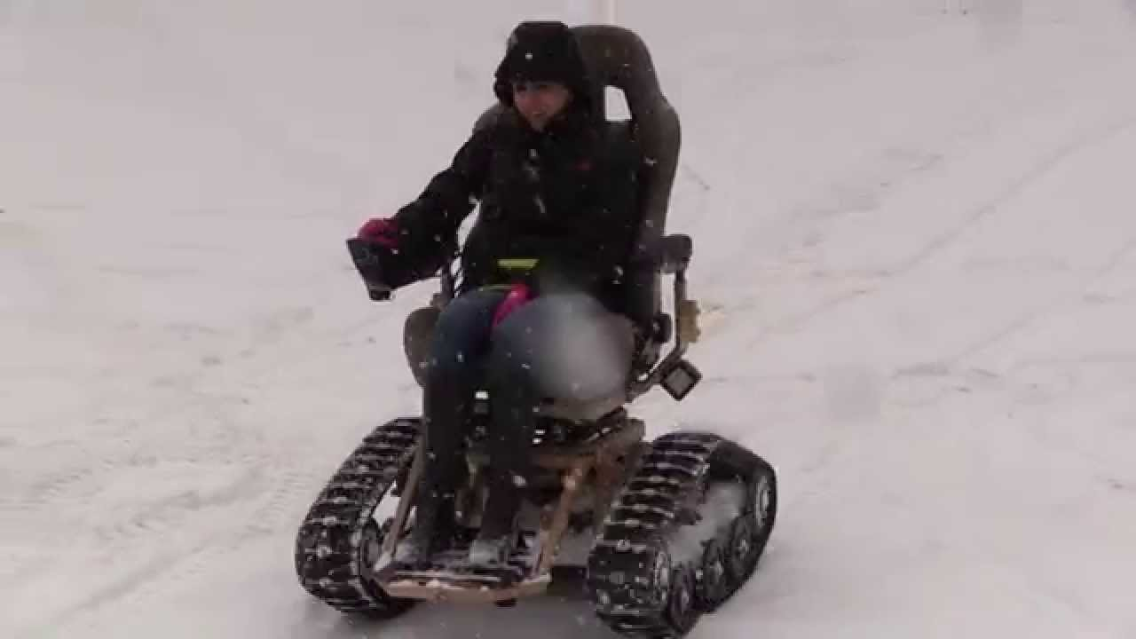 TracFab All Terrain Tracked Wheelchair in the snow