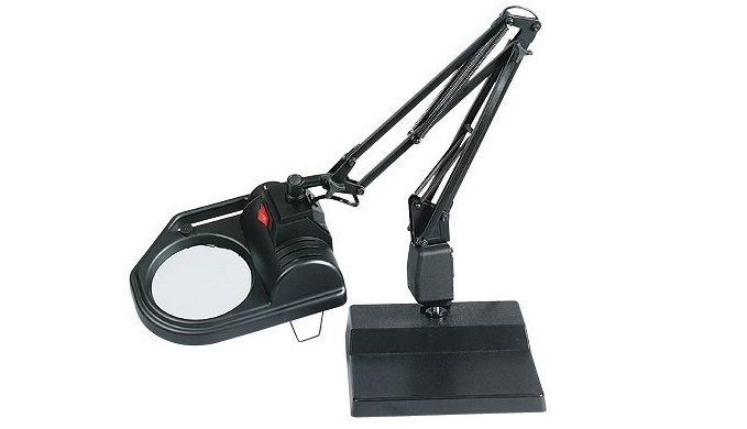 "Halogen Lamp Magnifier; Table Base; 100 watts; 30"" arm length; 115V"