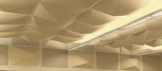 Diffusers on the walls and celling