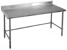 Worktables: Backsplash, Stainless Steel Tubular Base