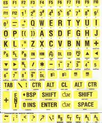 Large Print Yellow Sticker With Black Print for Keyboard