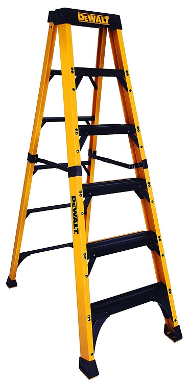 Yellow, DeWalt DXL3810-06 6-Feet Fiberglass Stepladder