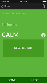 mood meter app displaying calm option