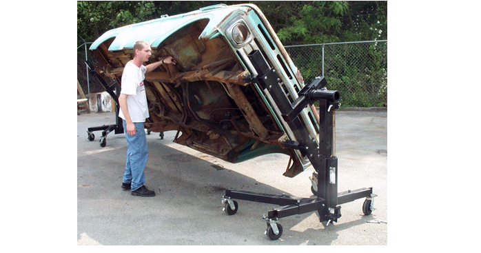 Bottoms Up Lift shown with a truck body on it's side