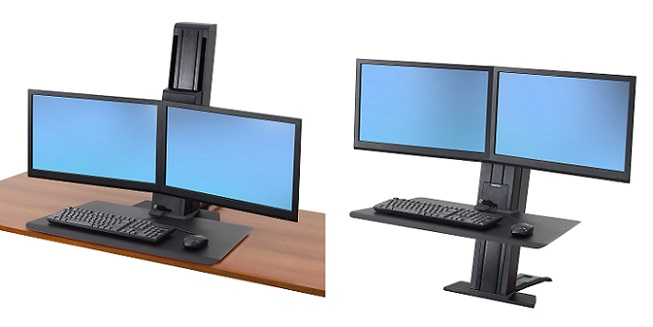 WorkFit-SR, Dual Monitor, Sit-Stand Desktop Workstation, Short Surface