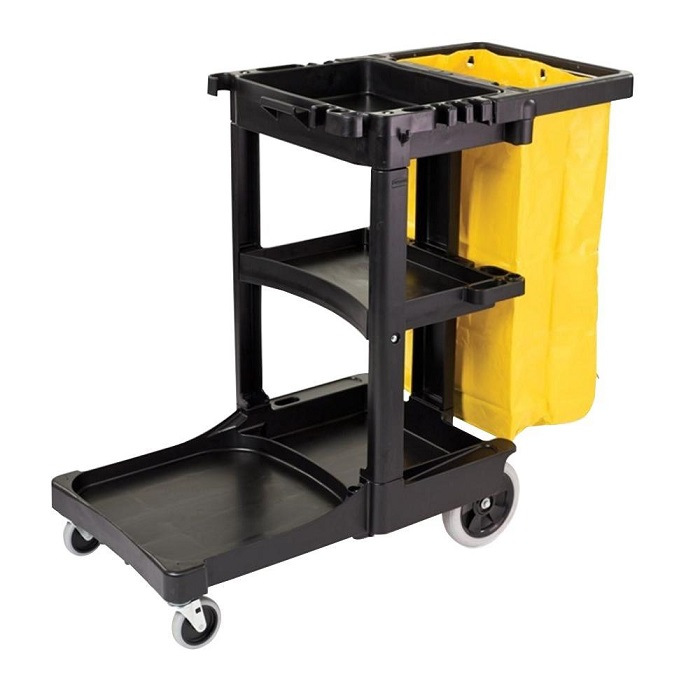 Rubbermaid 6173-88 BLA Commercial 3-Shelf Cleaning Cart