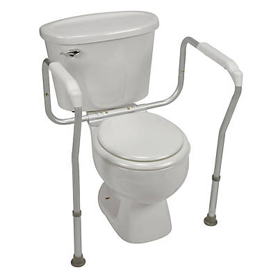 HealthSmart 250 lbs. Toilet Safety Adjustable Arm Support With BactiX; Aluminum