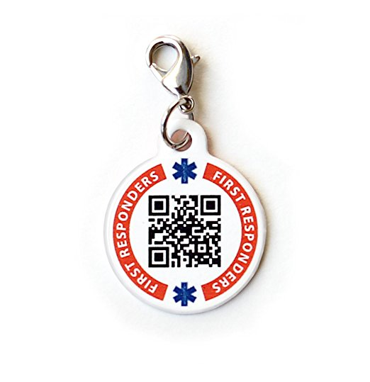 Dynotag Web Gps Enabled Qr Code Smart Medical And Emergency Contact Information Charm Bracelet Tag With Lobster Clasp